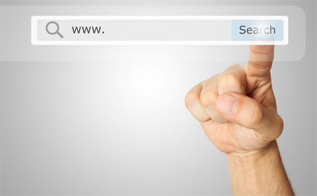 Finger clicking a search button